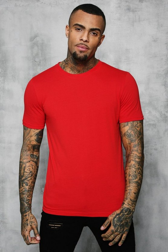 Mens Fire red Basic Crew Neck T Shirt