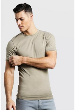 Mens Sage silver Muscle Fit Crew Neck T Shirt
