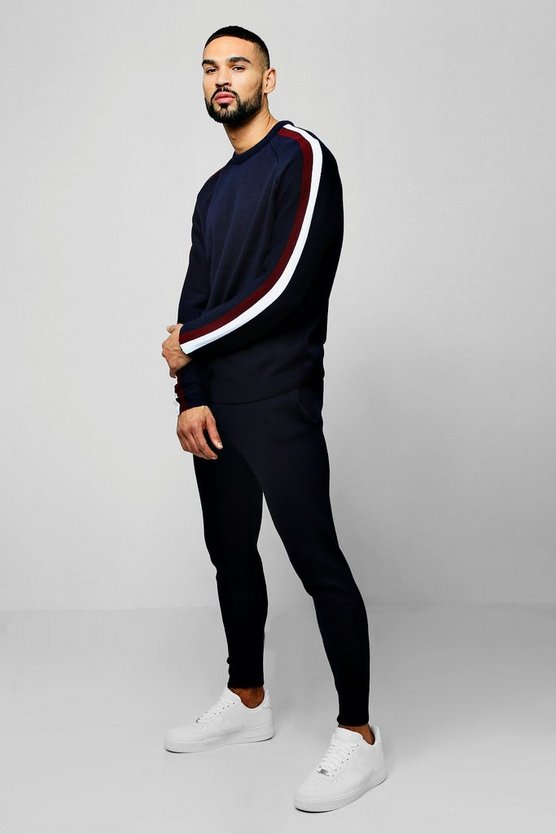 Knitted Sweater Tracksuit With Side Stripes