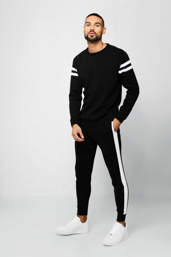 Knitted Sweater Tracksuit With Side Panels, Black, Uomo