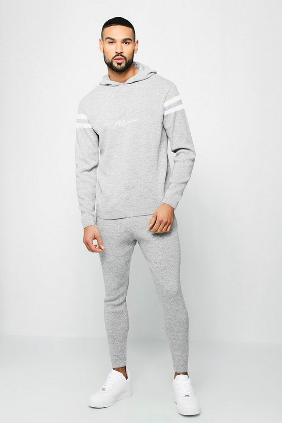 Mens Grey MAN Hooded Knitted Tracksuit With Contrast Panels