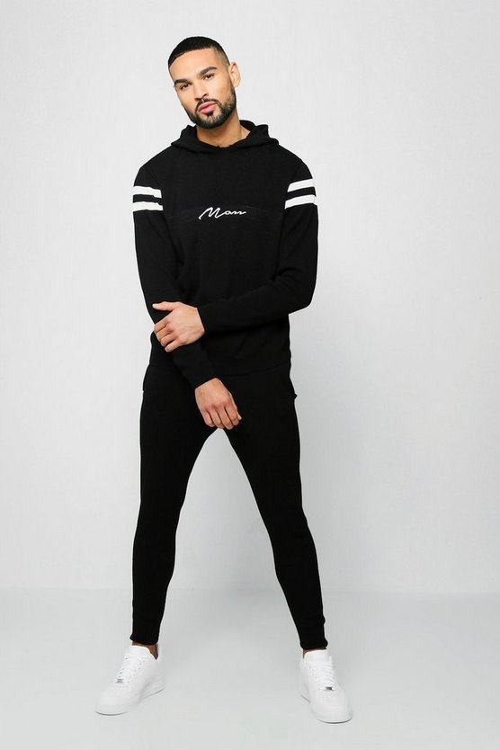 Mens Black MAN Hooded Knitted Tracksuit With Contrast Panels