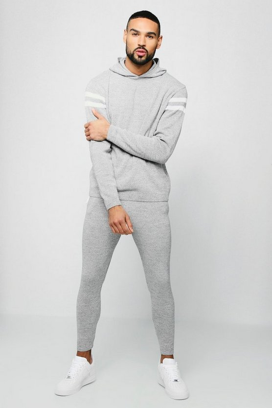 Mens Grey Hooded Knitted Tracksuit With Side Panel