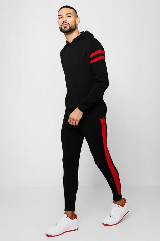 Hooded Knitted Tracksuit With Side Panel