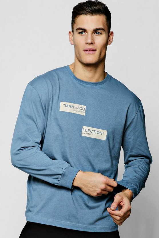 Mens Slate MAN Collection Spliced Box Oversized T-Shirt