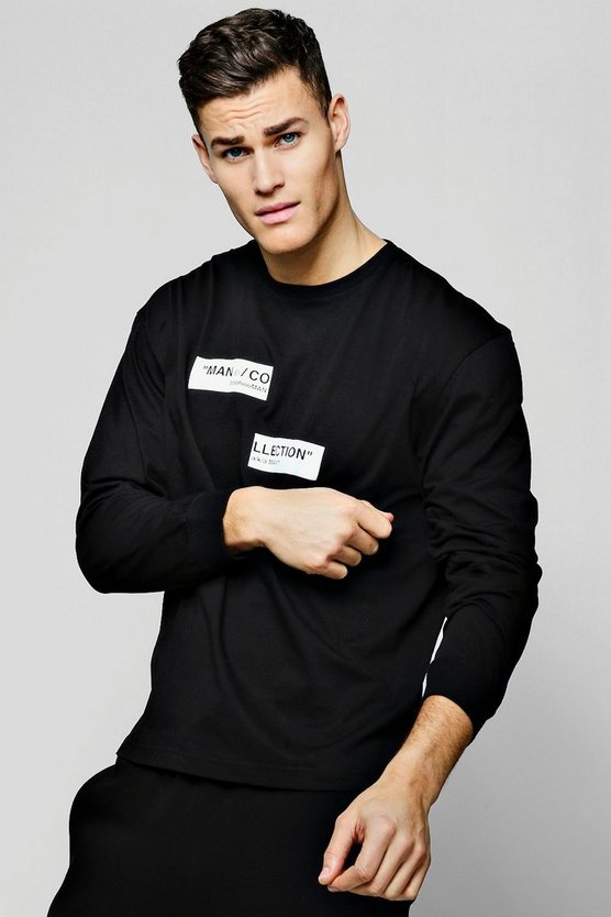 Mens Black MAN Collection Spliced Box Oversized T-Shirt