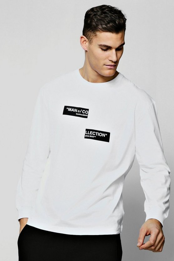 Mens White MAN Collection Spliced Box Oversized T-Shirt