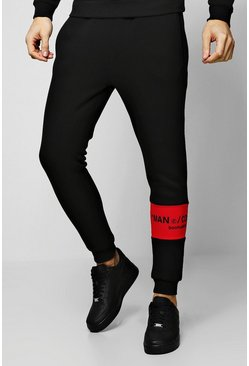 Mens Red MAN Collection Contrast Panel Jogger
