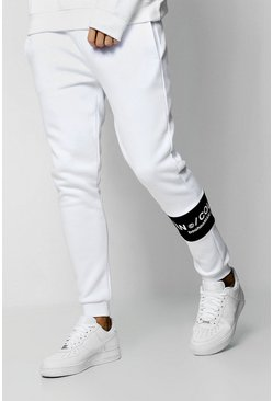 Mens White MAN Collection Contrast Panel Jogger