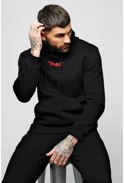 MAN Collection Back Spiced Box Hoodie, Black, Uomo