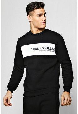 MAN Collection Contrast Panel Sweater, Black, Uomo