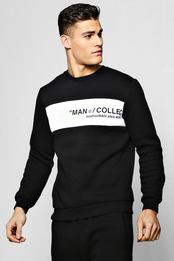 Mens Black MAN Collection Contrast Panel Sweater