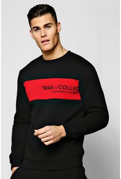 Mens Red MAN Collection Contrast Panel Sweater