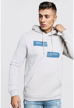 Mens Light slate MAN Collection Spliced Box Print Hoodie