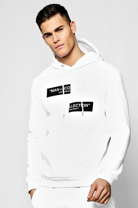 Mens White MAN Collection Spliced Box Hoodie