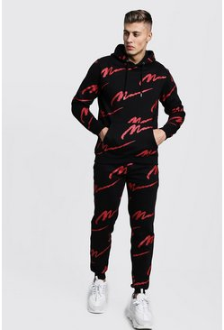 Black All Over Red MAN Print Hooded Tracksuit