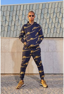 Navy All Over MAN Printed Hooded Tracksuit