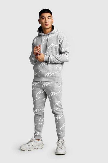 Mens Grey All Over MAN Printed Hooded Tracksuit