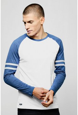 Mens White Long Sleeve Raglan With Sleeve Stripes