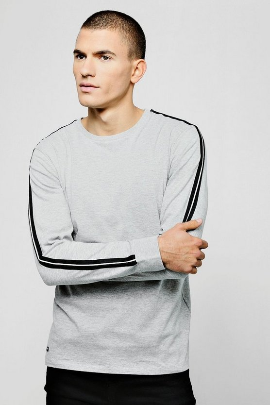 Cuffed Long Sleeve T-Shirt With Side Tape