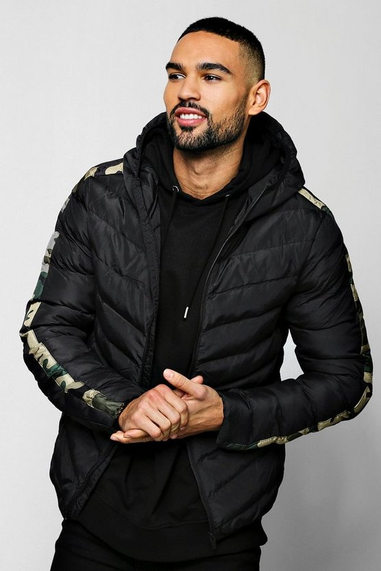 Camo Arm Panel Puffer Jacket