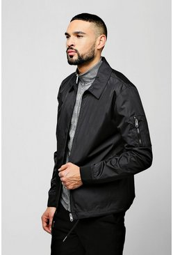 Zip Through Coach Jacket, Black, Uomo