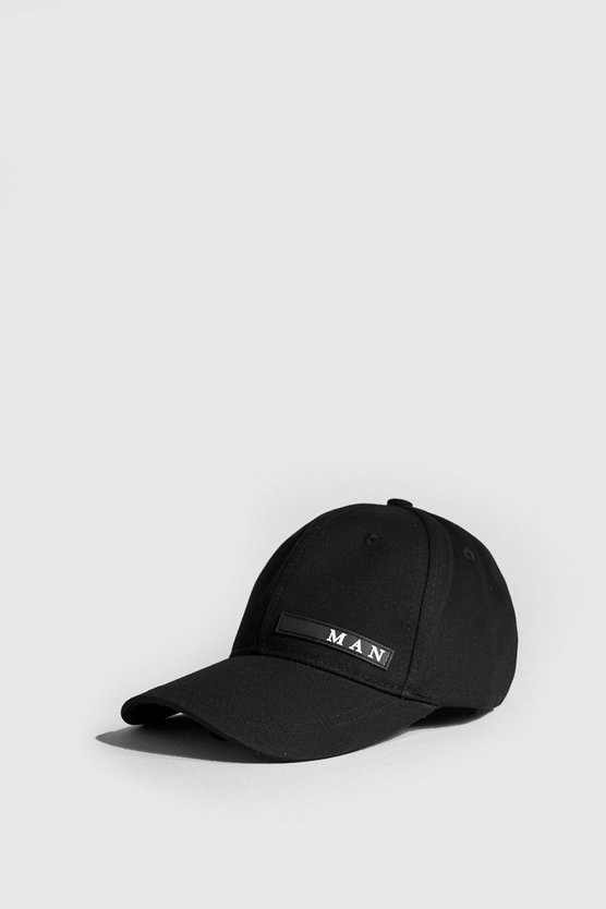Black MAN Sport Rubberised Patch Cap