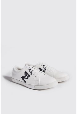 Mens White Faux Leather MAN Trainer