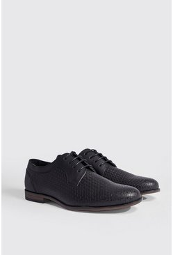 Mens Black Faux Leather Embossed Smart Shoe