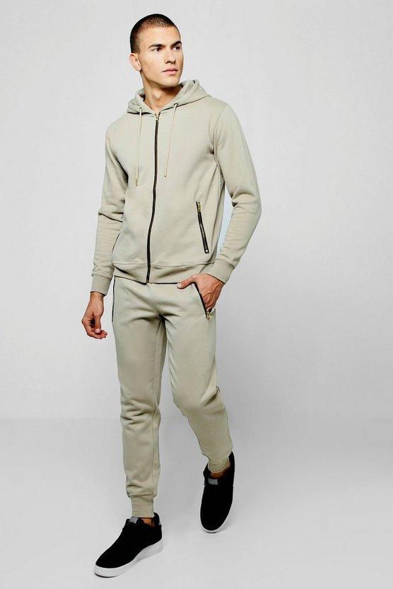 Zip Through Hooded Tracksuit with Contrast Zips