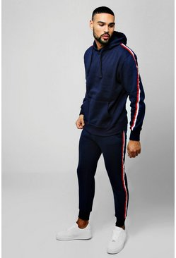 Mens Navy Over The Head Hooded Tracksuit With Side Tape