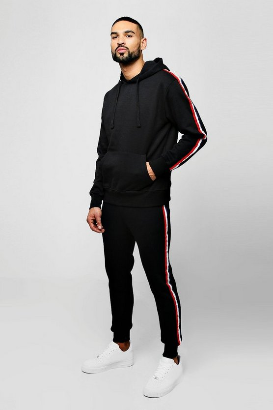 Mens Black Over The Head Tracksuit With Side Tape