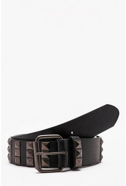 Mens Black All Over Studded Belt