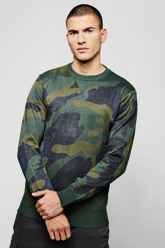 Camo Jacquard Knitted Jumper