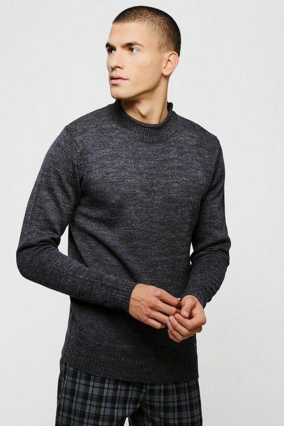 Grown On Neck Knitted Jumper