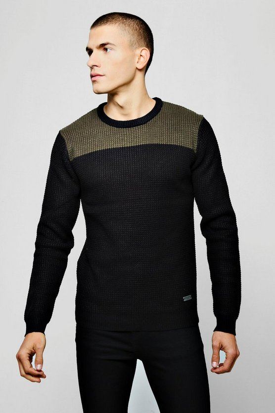 Mens Black Colour Block Long Sleeve Knitted Jumper