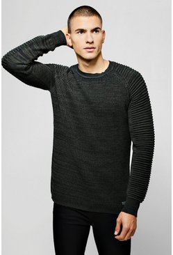 Mens Biker Panelling Knitted Sweater