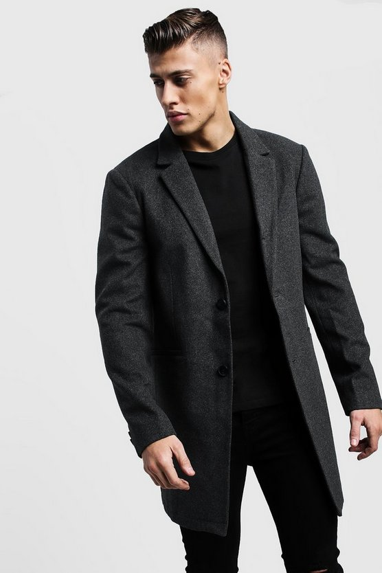 Single Breasted Wool Look Overcoat