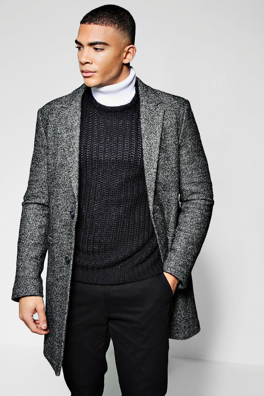 Salt & Pepper Wool Look Crombie Overcoat