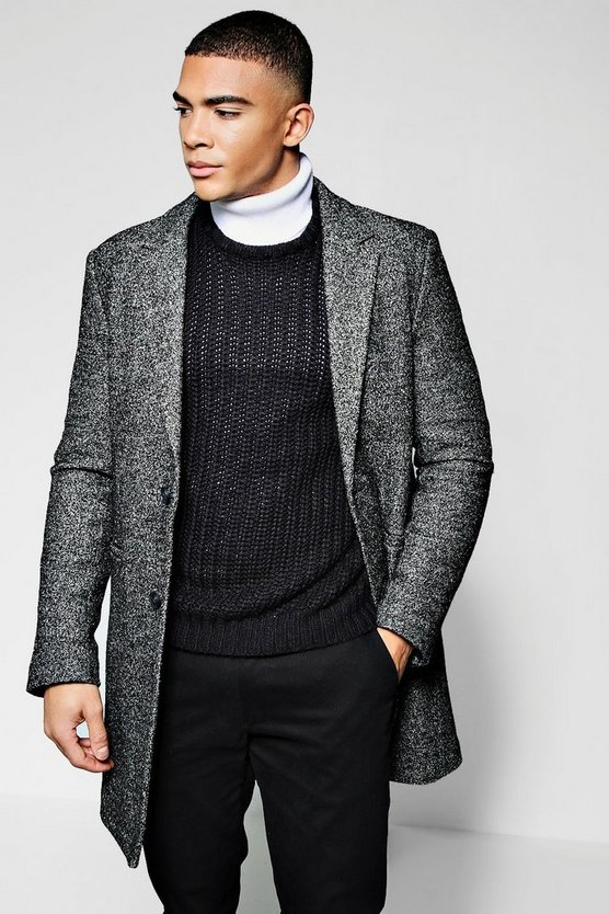 Salt & Pepper Wool Look Crombie Overcoat