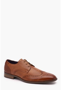 Faux Leather Brogue, Tan, Uomo