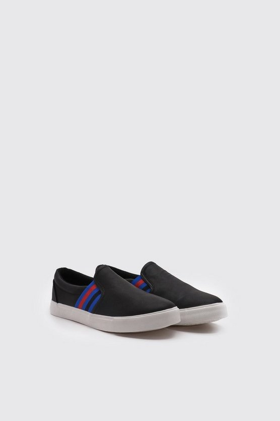 Black Faux Leather Stripe Tape Slip On Sneaker