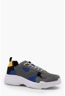 Mens Grey Chunky Hiker Trainer