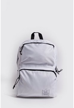 Mens White Multi Pocket Utility Rucksack