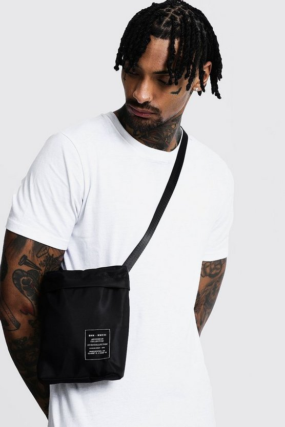 Mens Black Nylon Cross Body Bag with MAN Patch