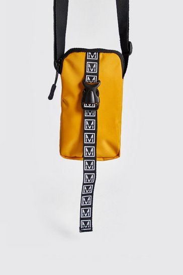 Mens Yellow MAN Logo Mini Cross Body Bag