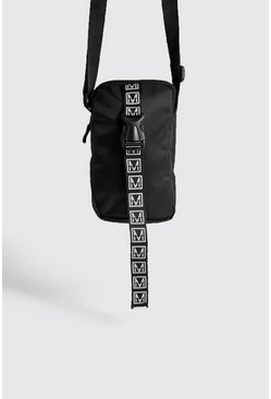 Mens Black MAN Logo Mini Cross Body Bag