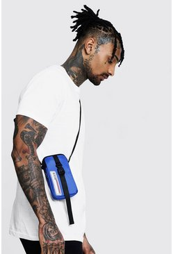 Mens Blue MAN Patch Mini Cross Body Bag