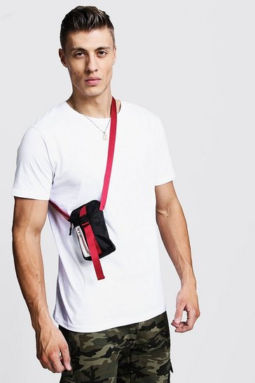 Mens Black MAN Patch Mini Cross Body Bag