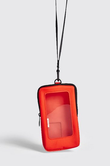 Mens Orange Perspex Window Mini Cross Body Bag
